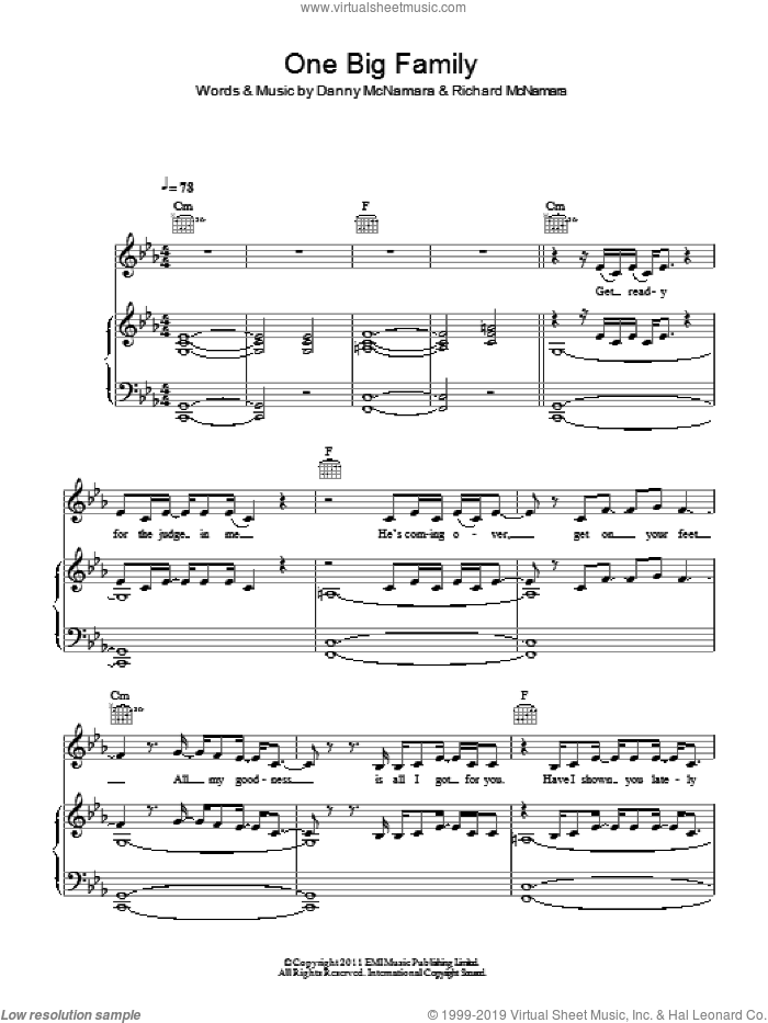 One Big Family sheet music for voice, piano or guitar by Templecloud, Danny McNamara and Richard McNamara, intermediate. Score Image Preview.