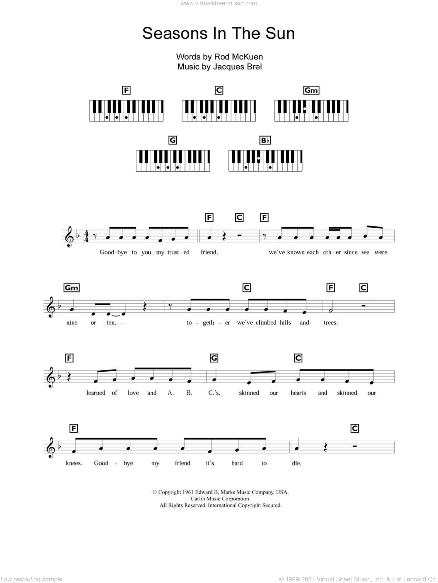 Seasons In The Sun sheet music for piano solo (chords, lyrics, melody) by Rod McKuen, Westlife and Jacques Brel. Score Image Preview.