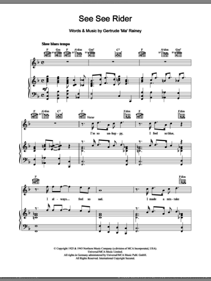 See See Rider sheet music for voice, piano or guitar by Ma Rainey, intermediate skill level
