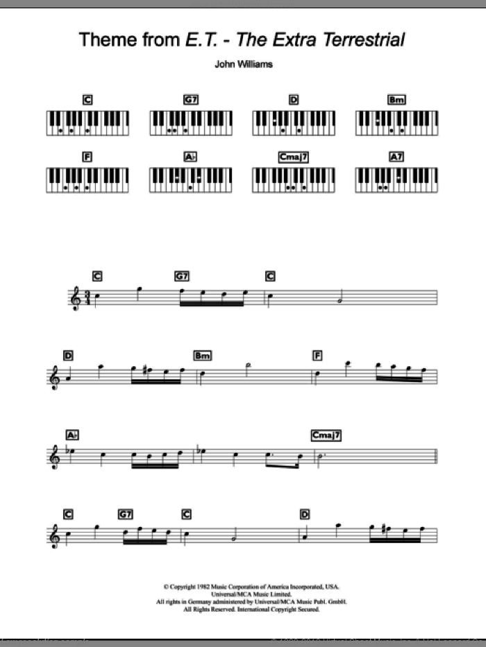 Theme from E.T. (The Extra-Terrestrial) sheet music for piano solo (chords, lyrics, melody) by John Williams. Score Image Preview.