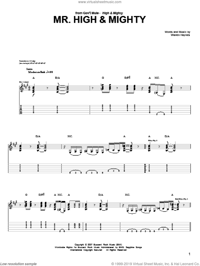 Mr. High and Mighty sheet music for guitar (tablature) by Warren Haynes. Score Image Preview.