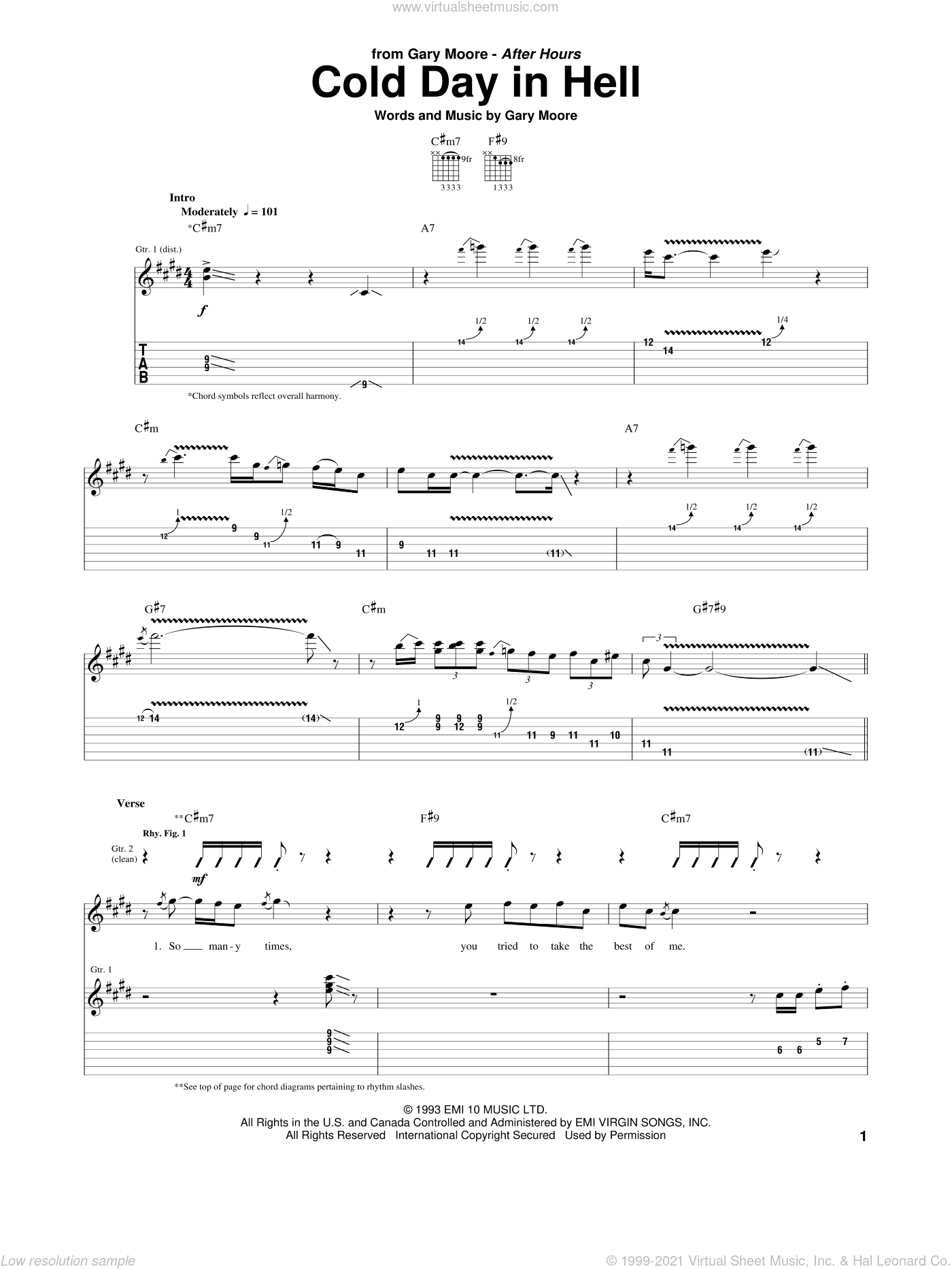 Cold Day In Hell sheet music for guitar (tablature) by Gary Moore, intermediate skill level