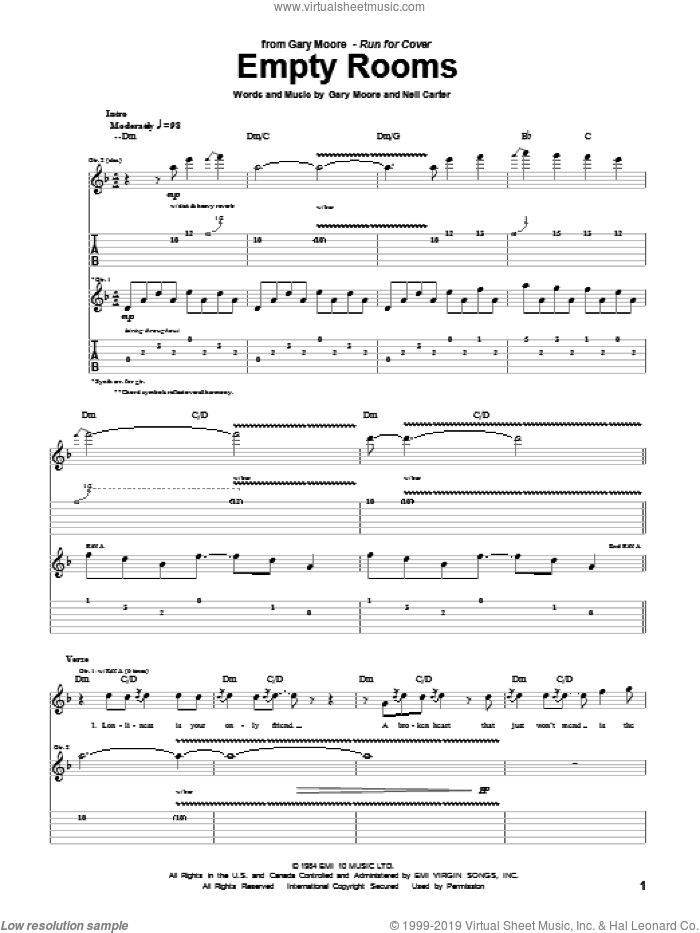 Empty Rooms sheet music for guitar (tablature) by Neil Carter and Gary Moore. Score Image Preview.