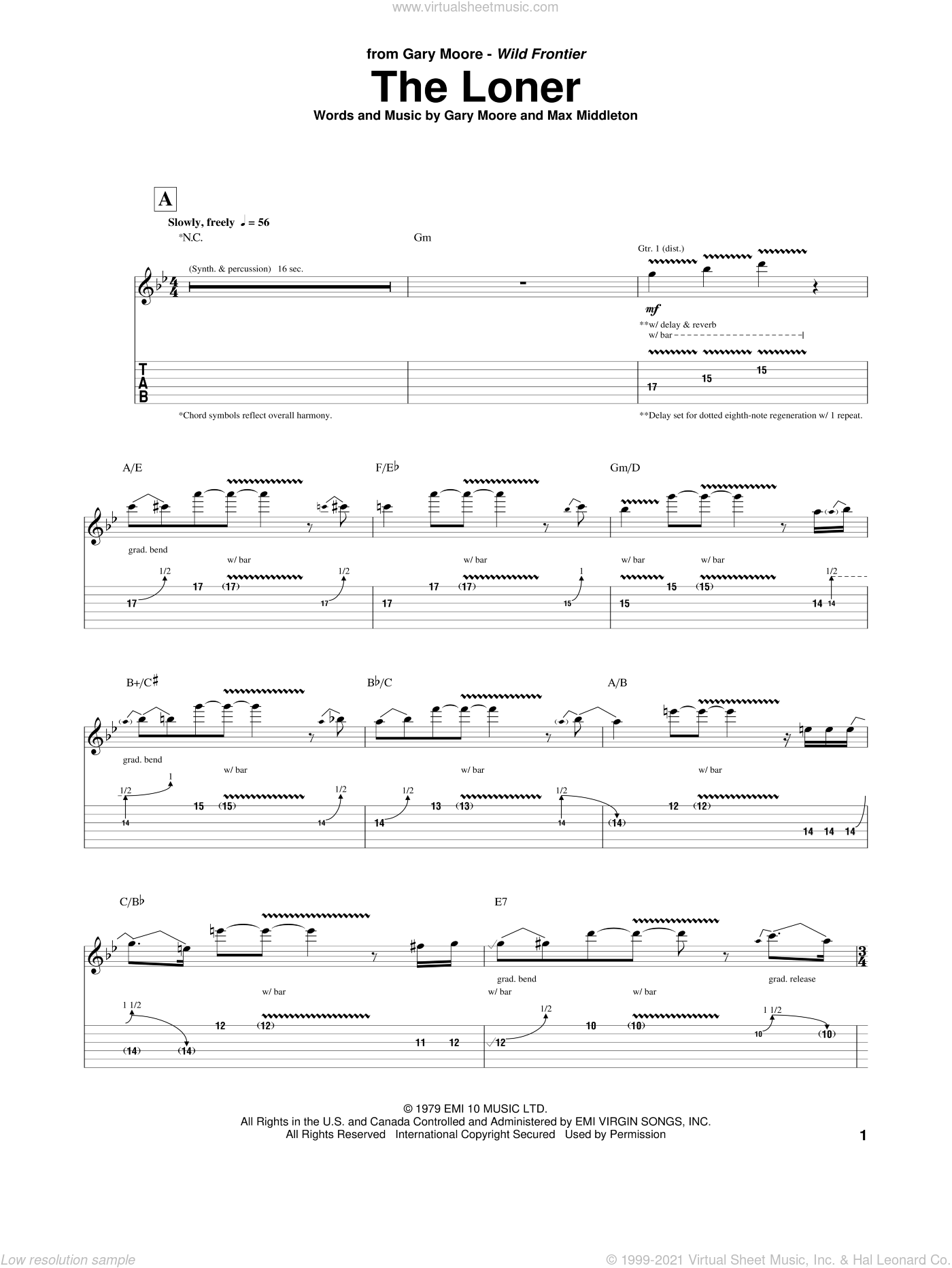 The Loner sheet music for guitar (tablature) by Gary Moore and Max Middleton, intermediate skill level