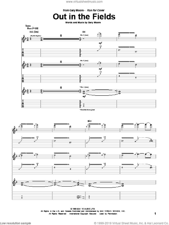 Out In The Fields sheet music for guitar (tablature) by Gary Moore. Score Image Preview.