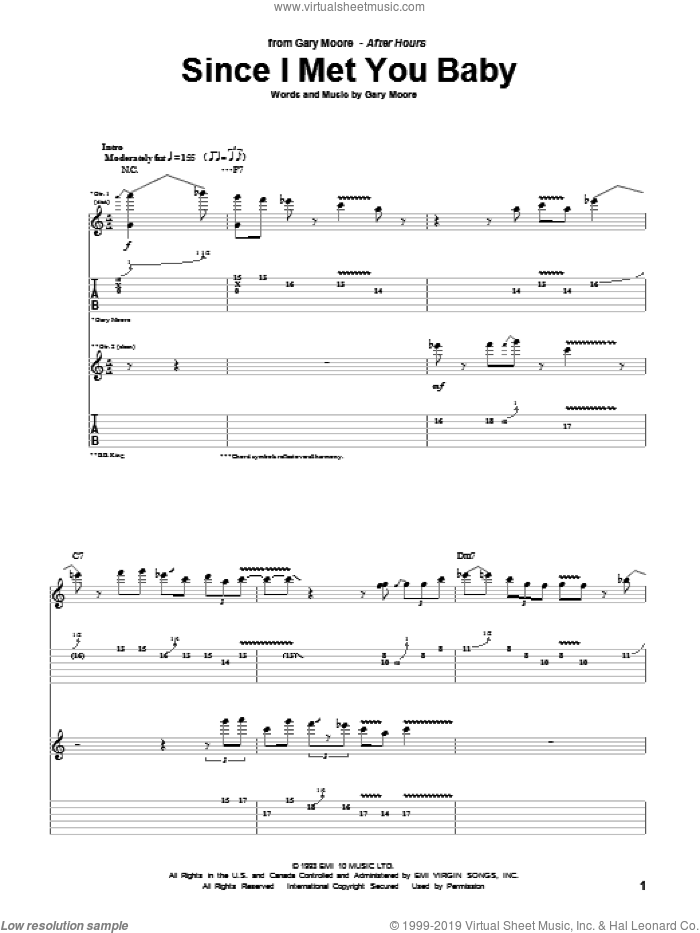 Since I Met You Baby sheet music for guitar (tablature) by Gary Moore and B.B. King, intermediate skill level