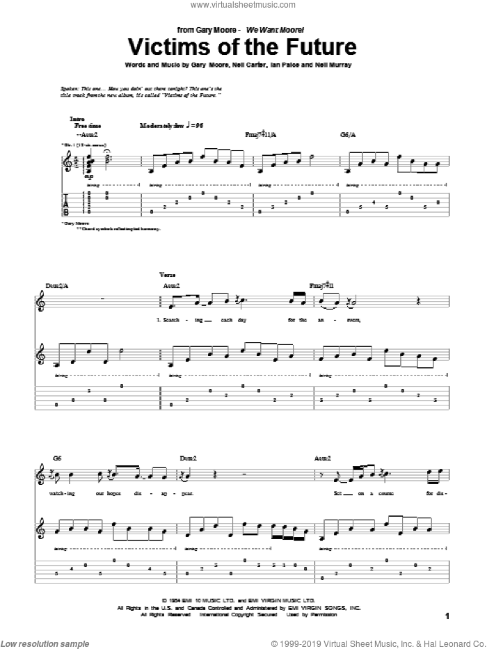 Victims Of The Future sheet music for guitar (tablature) by Gary Moore, Ian Paice, Neil Carter and Neil Murray, intermediate