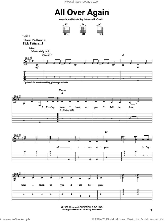 All Over Again sheet music for guitar solo (easy tablature) by Johnny Cash, easy guitar (easy tablature)