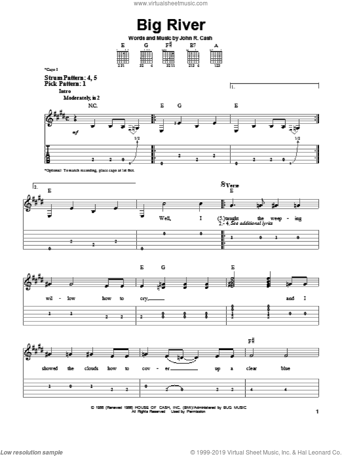 Big River sheet music for guitar solo (easy tablature) by Johnny Cash, easy guitar (easy tablature)