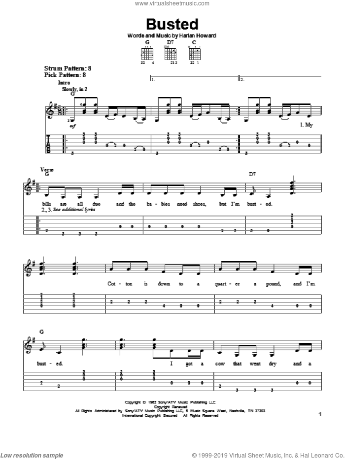 Busted sheet music for guitar solo (easy tablature) by Harlan Howard, Johnny Cash and Ray Charles. Score Image Preview.