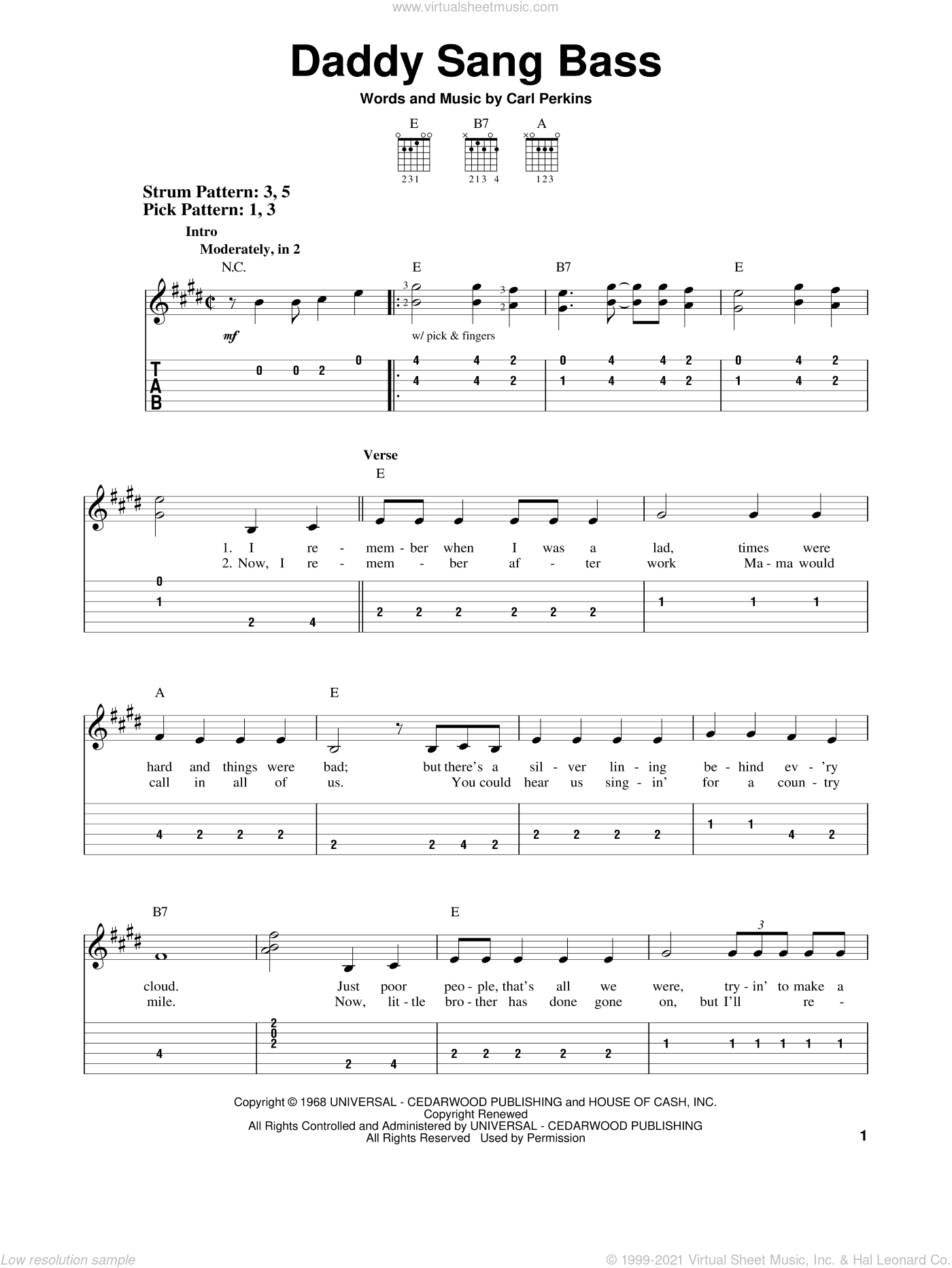 Daddy Sang Bass sheet music for guitar solo (easy tablature) by Carl Perkins