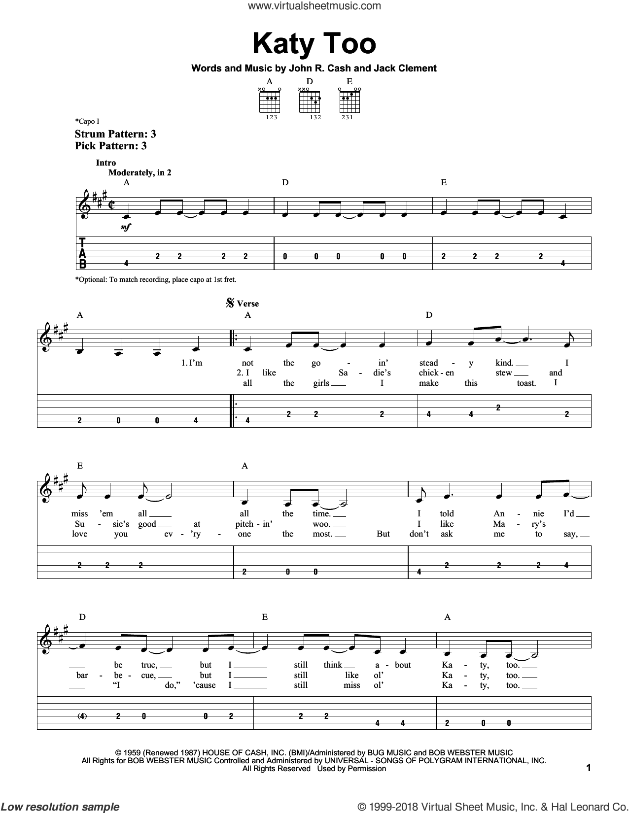 Katy Too sheet music for guitar solo (easy tablature) by Jack Clement and Johnny Cash. Score Image Preview.