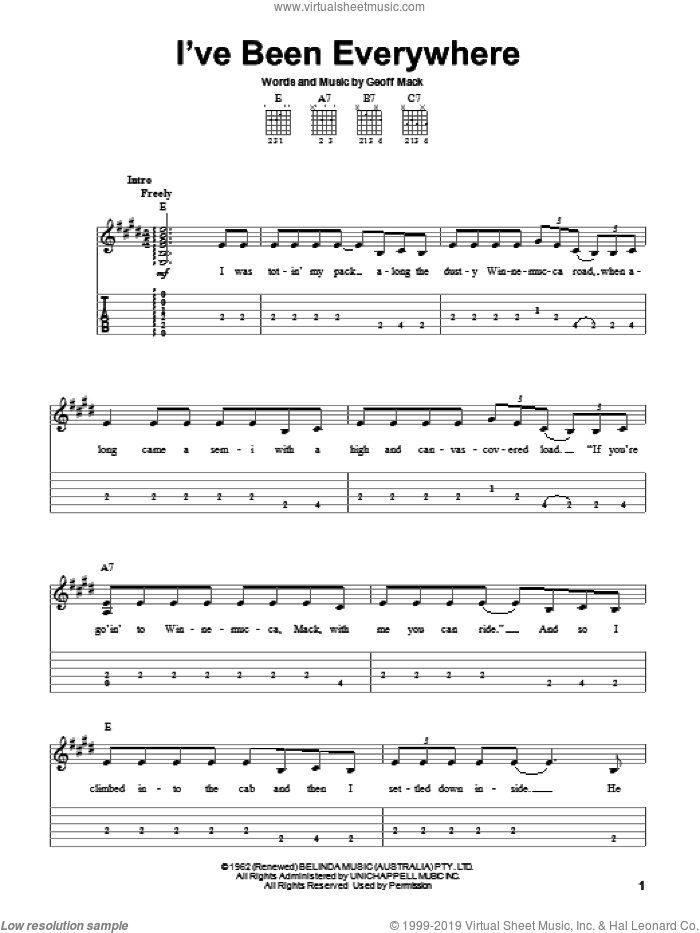 I've Been Everywhere sheet music for guitar solo (easy tablature) by Johnny Cash, Hank Snow and Geoff Mack, easy guitar (easy tablature)