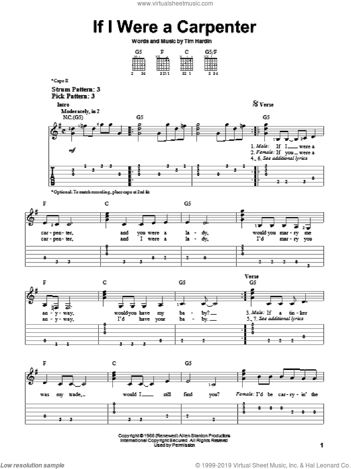 If I Were A Carpenter sheet music for guitar solo (easy tablature) by Johnny Cash, Bobby Darin and Tim Hardin, easy guitar (easy tablature)