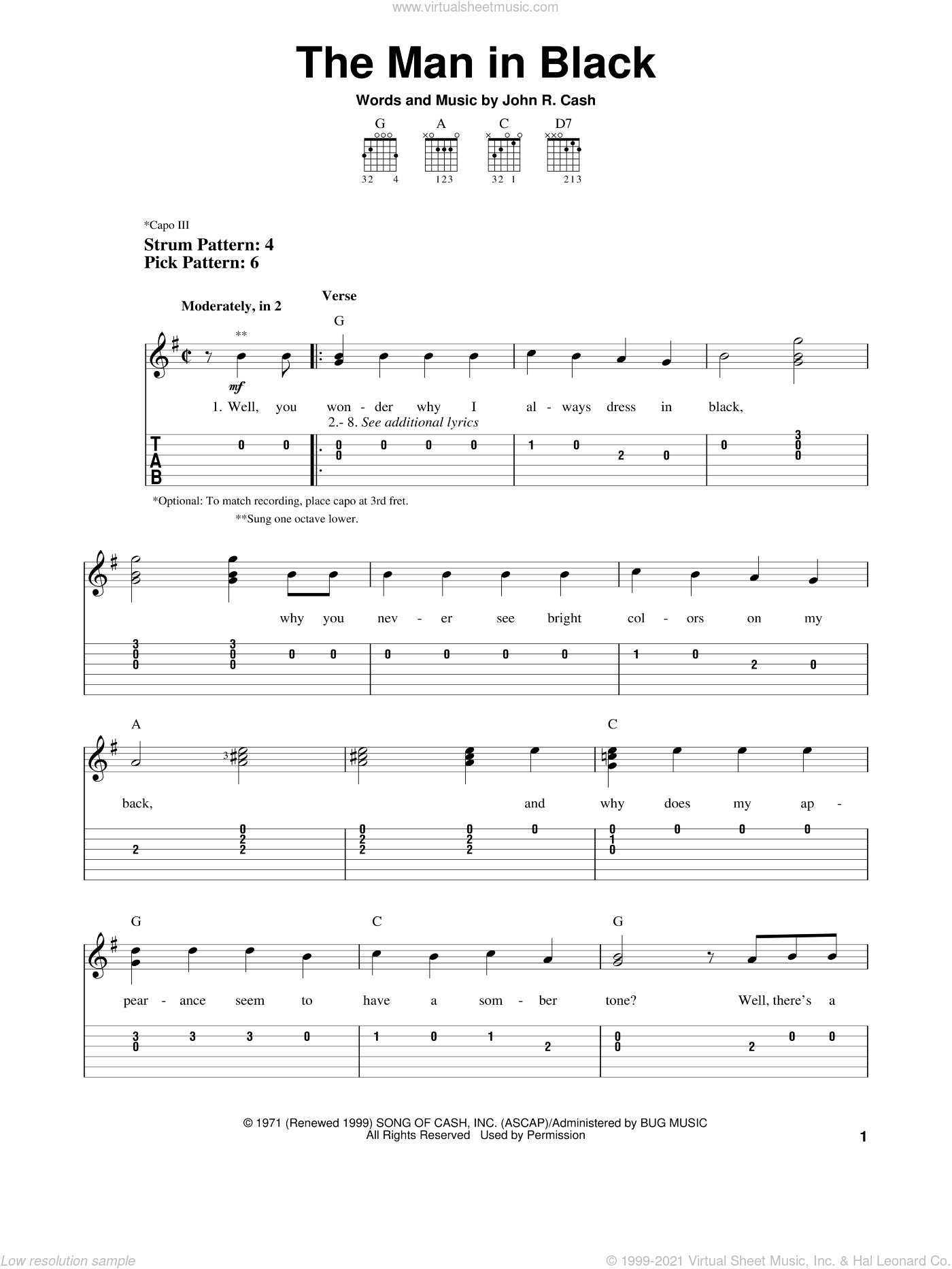 The Man In Black sheet music for guitar solo (easy tablature) by Johnny Cash, easy guitar (easy tablature). Score Image Preview.