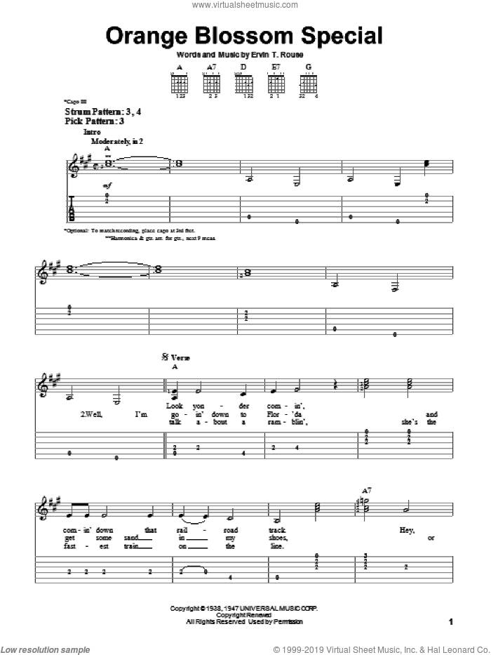 Orange Blossom Special sheet music for guitar solo (easy tablature) by Ervin T. Rouse