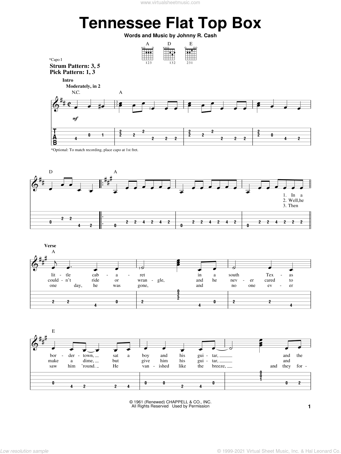 Tennessee Flat Top Box sheet music for guitar solo (easy tablature) by Johnny Cash and Rosanne Cash, easy guitar (easy tablature)