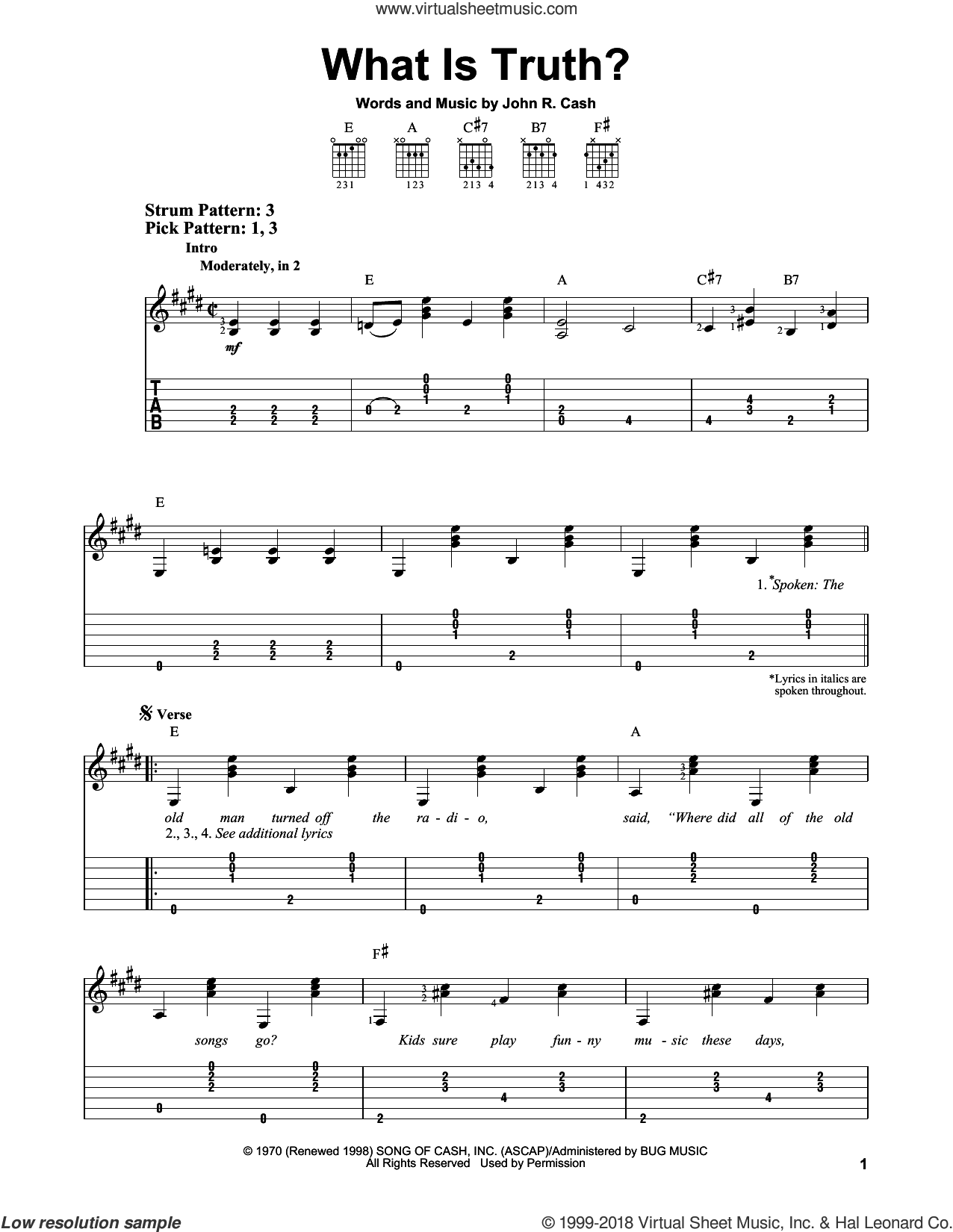 What Is Truth? sheet music for guitar solo (easy tablature) by Johnny Cash. Score Image Preview.