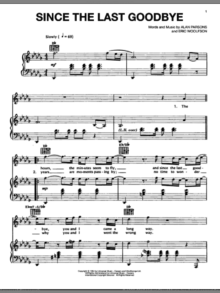 Since The Last Goodbye sheet music for voice, piano or guitar by Alan Parsons Project, Alan Parsons and Eric Woolfson, intermediate skill level