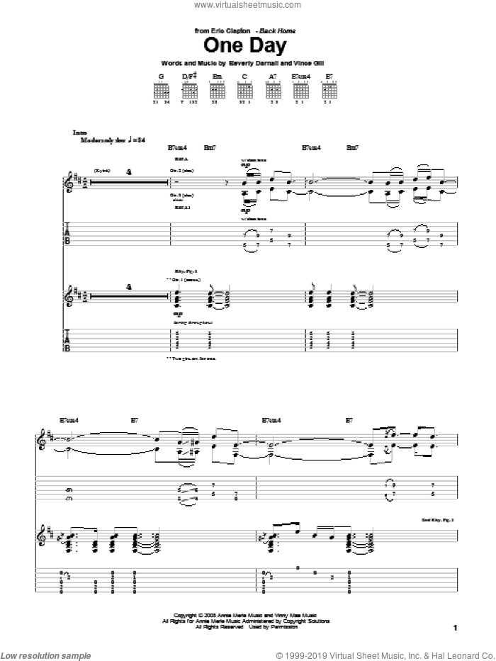 One Day sheet music for guitar (tablature) by Vince Gill, Eric Clapton and Beverly Darnall. Score Image Preview.