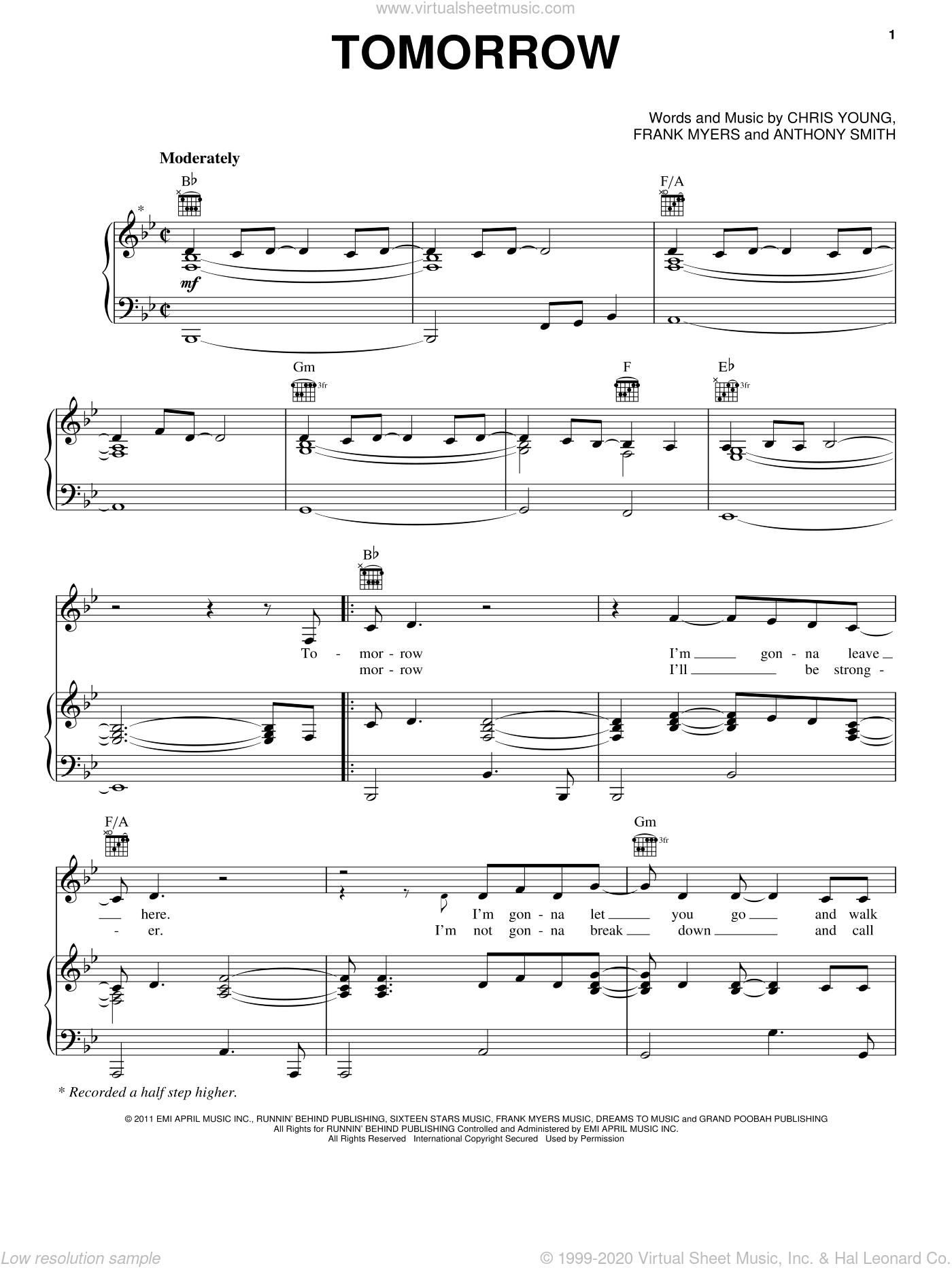 Tomorrow sheet music for voice, piano or guitar by Chris Young and Frank Myers, intermediate. Score Image Preview.