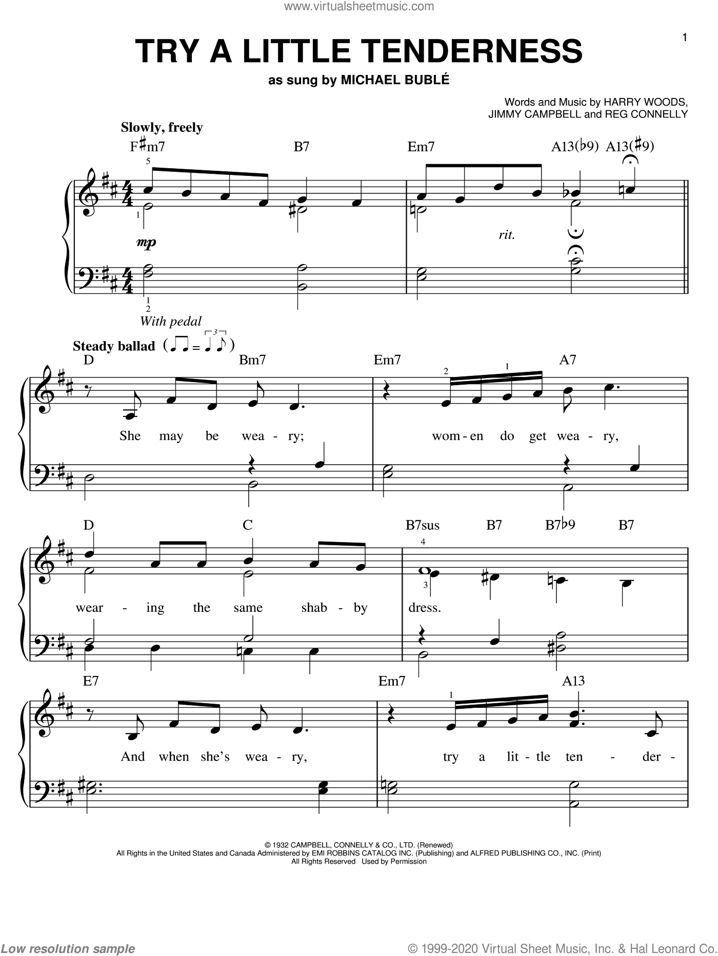 Try A Little Tenderness sheet music for piano solo by Otis Redding, Harry Woods, Jimmy Campbell and Reg Connelly, easy skill level