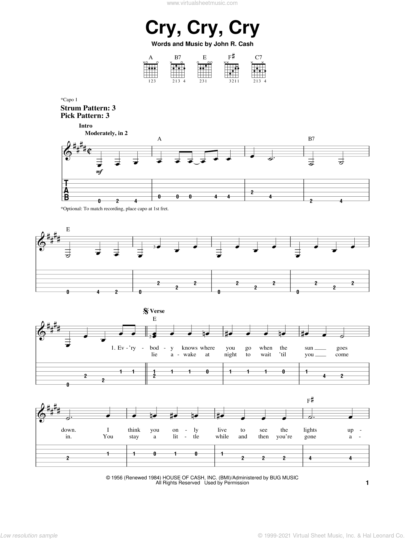 Cry, Cry, Cry sheet music for guitar solo (easy tablature) by Johnny Cash, easy guitar (easy tablature)