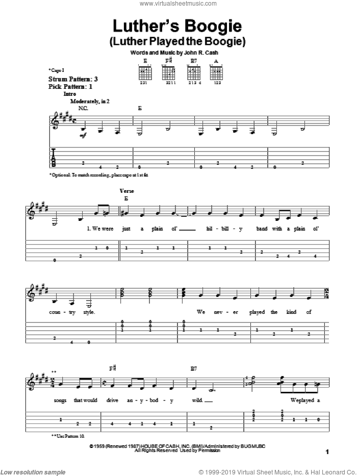 Luther's Boogie (Luther Played The Boogie) sheet music for guitar solo (easy tablature) by Johnny Cash. Score Image Preview.