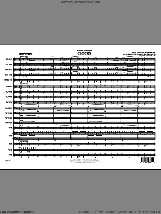 Clocks (COMPLETE) sheet music for jazz band by Will Champion