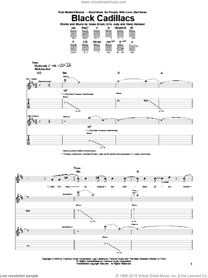 Black Cadillacs sheet music for guitar (tablature) by Modest Mouse, intermediate guitar (tablature). Score Image Preview.