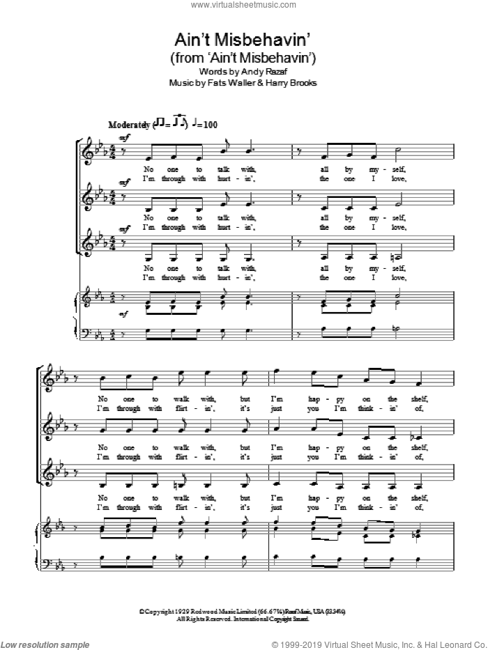 Ain't Misbehavin' sheet music for choir (soprano voice, alto voice, choir) by Andy Razaf, Harry Brooks and Thomas Waller. Score Image Preview.