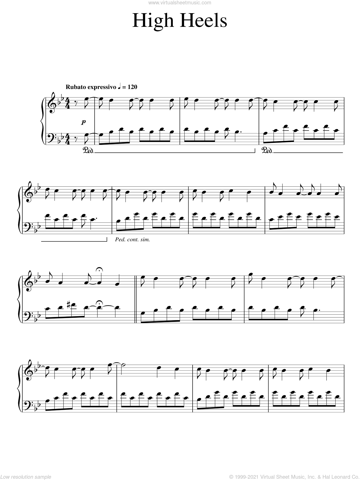 High Heels sheet music for piano solo by Ludovico Einaudi, classical score, intermediate skill level