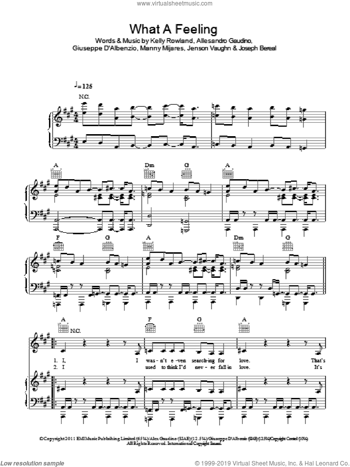 What A Feeling sheet music for voice, piano or guitar by Manny Mijares, Joseph Bereal and Kelly Rowland. Score Image Preview.