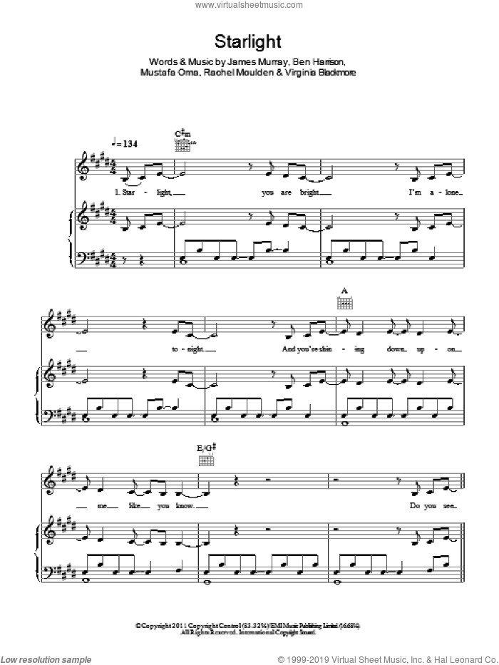 Starlight sheet music for voice and piano by Wonderland and James Murray. Score Image Preview.