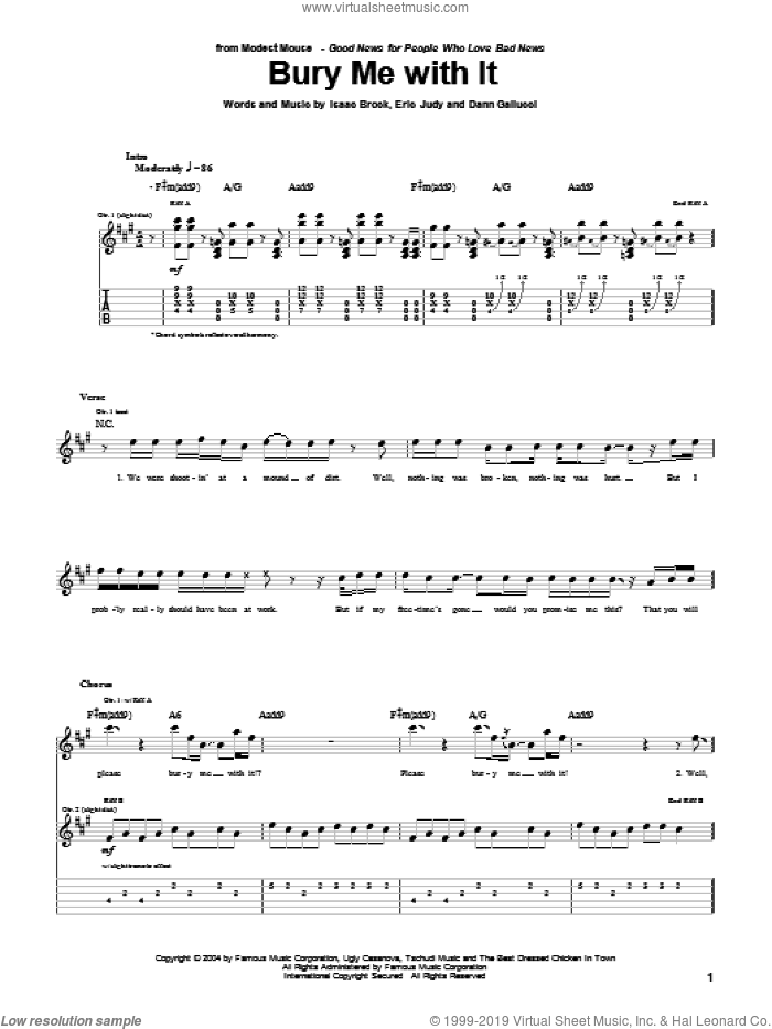 Bury Me With It sheet music for guitar (tablature) by Modest Mouse, Dann Gallucci, Eric Judy and Isaac Brock, intermediate skill level