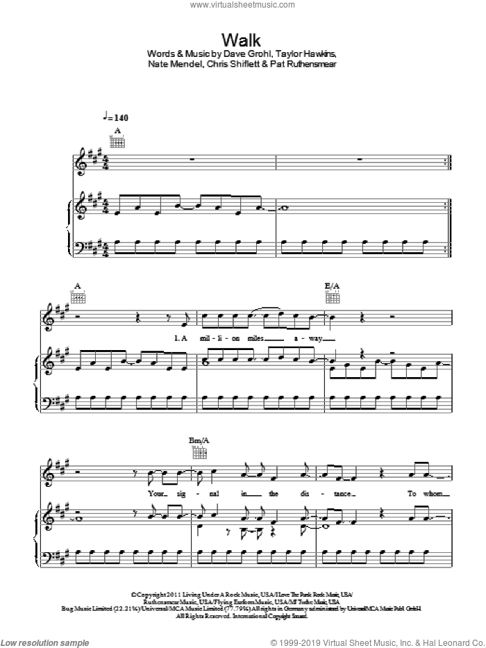 Walk sheet music for voice, piano or guitar by Foo Fighters, Chris Shiflett, Dave Grohl, Nate Mendel, Pat Ruthensmear and Taylor Hawkins, intermediate. Score Image Preview.