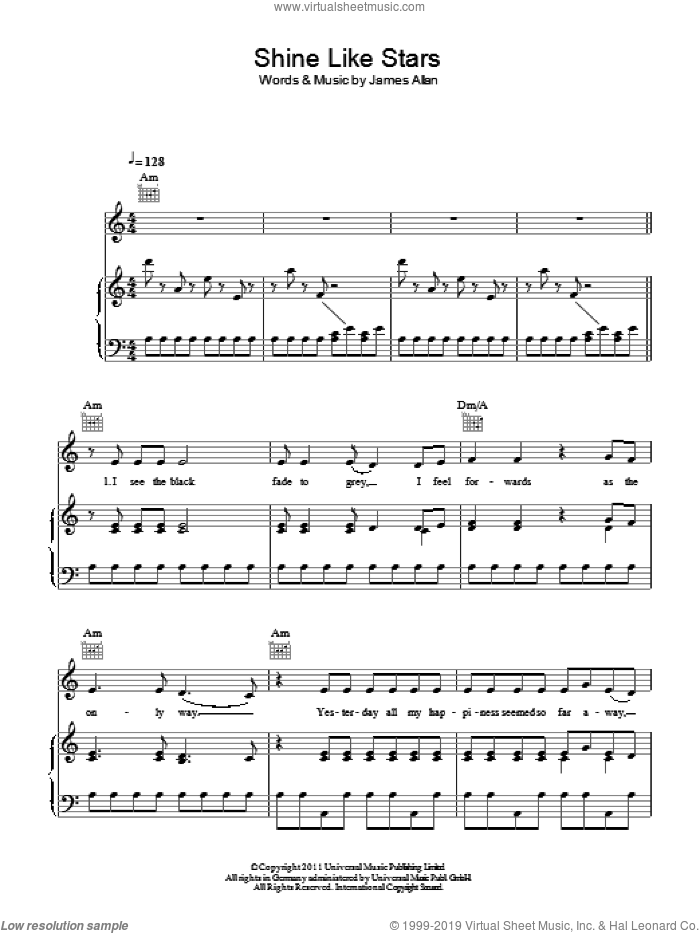 Shine Like Stars sheet music for voice, piano or guitar by Glasvegas and James Allan, intermediate skill level