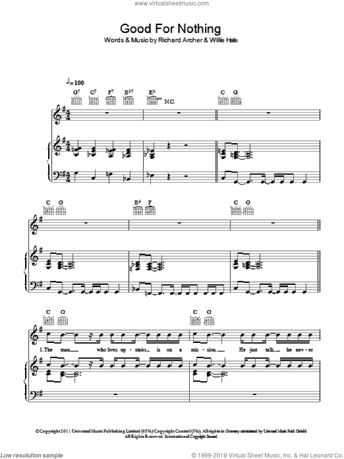 Good For Nothing sheet music for voice, piano or guitar by Willie Hale and Richard Archer. Score Image Preview.