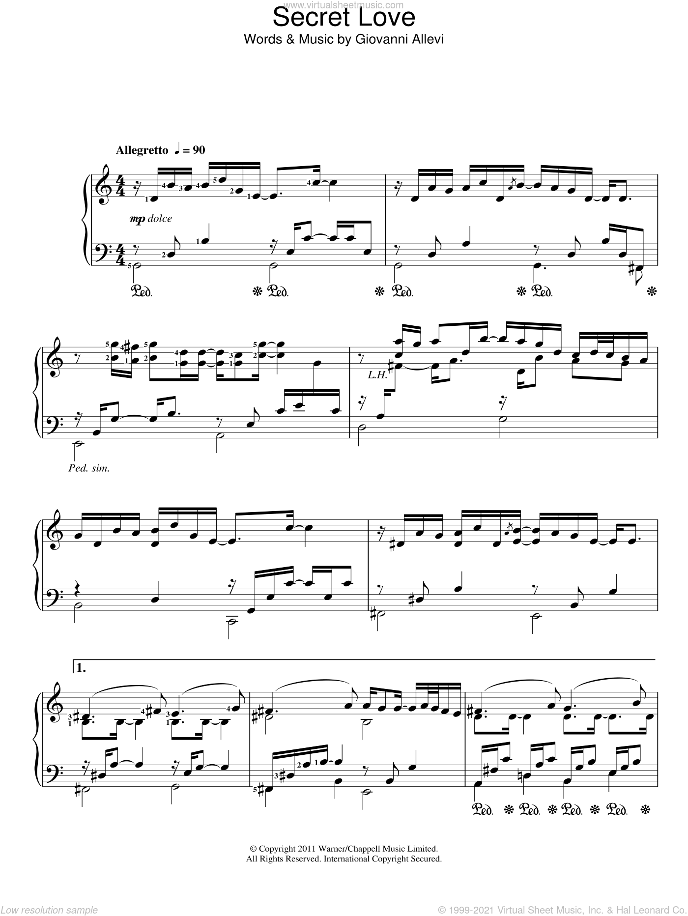 Secret Love sheet music for piano solo by Giovanni Allevi