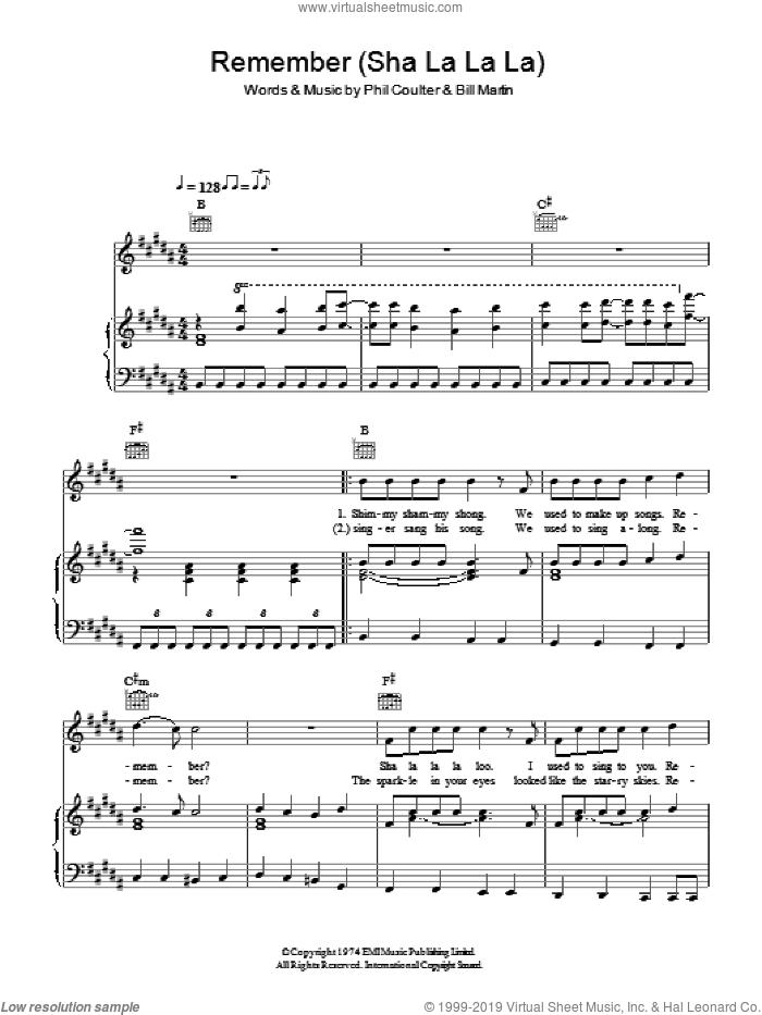 Remember (Sha La La La La) sheet music for voice, piano or guitar by Bay City Rollers, Bill Martin and Phil Coulter, intermediate skill level