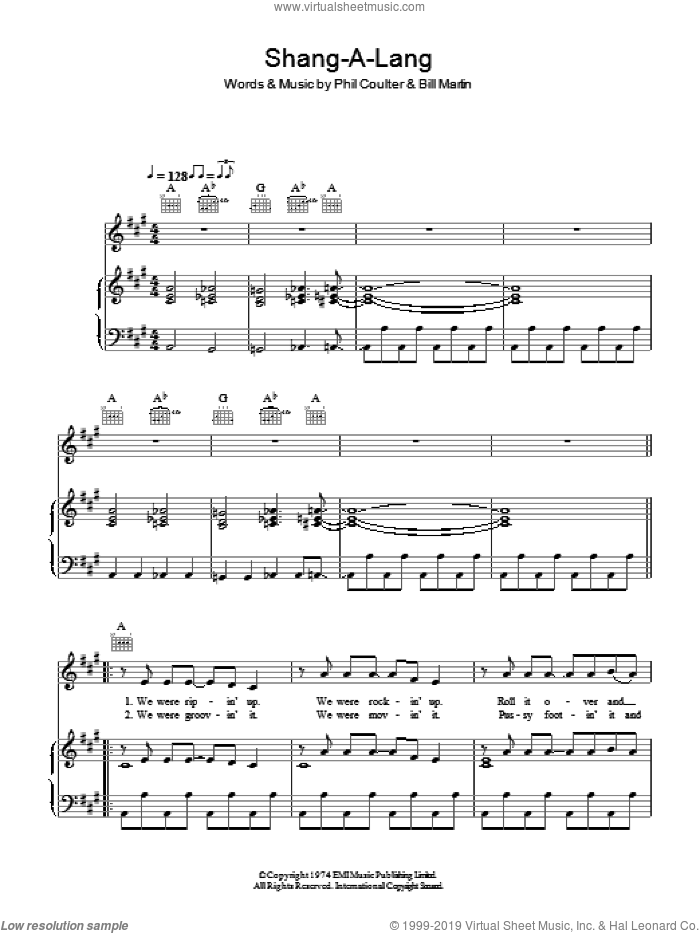 Shang-a-Lang sheet music for voice, piano or guitar by Bay City Rollers, Bill Martin and Phil Coulter, intermediate skill level