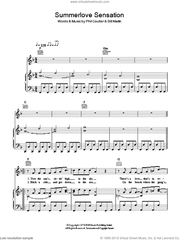 Summerlove Sensation sheet music for voice, piano or guitar by Bay City Rollers, Bill Martin and Phil Coulter, intermediate skill level