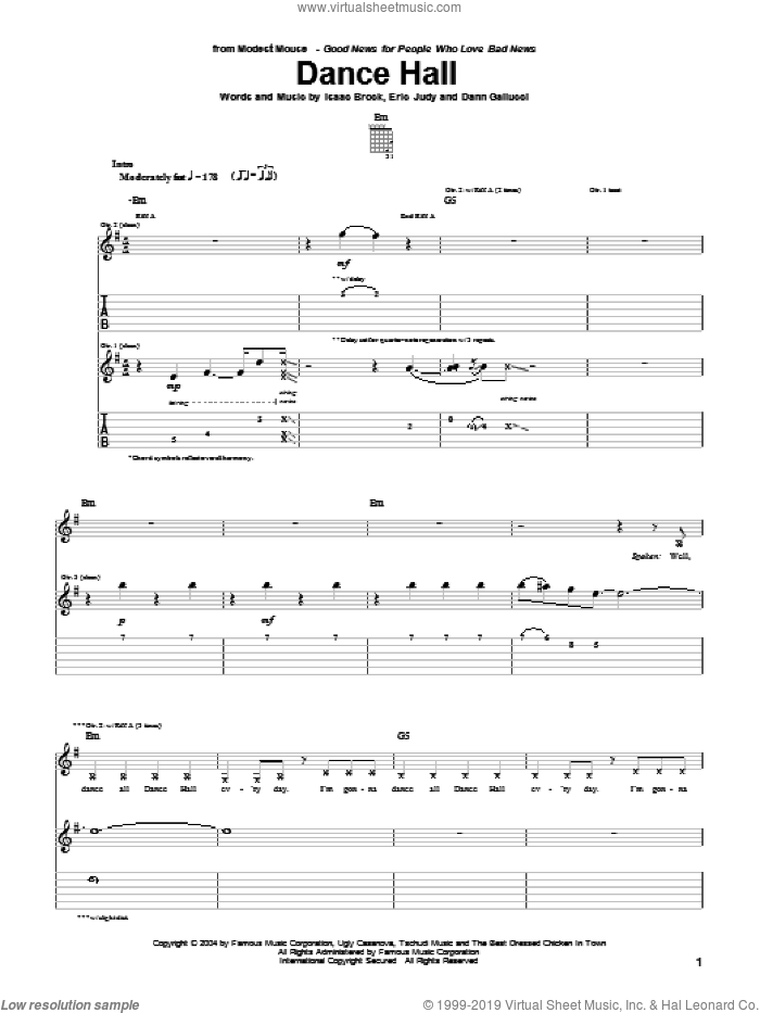 Dance Hall sheet music for guitar (tablature) by Modest Mouse, Dann Gallucci, Eric Judy and Isaac Brock, intermediate skill level