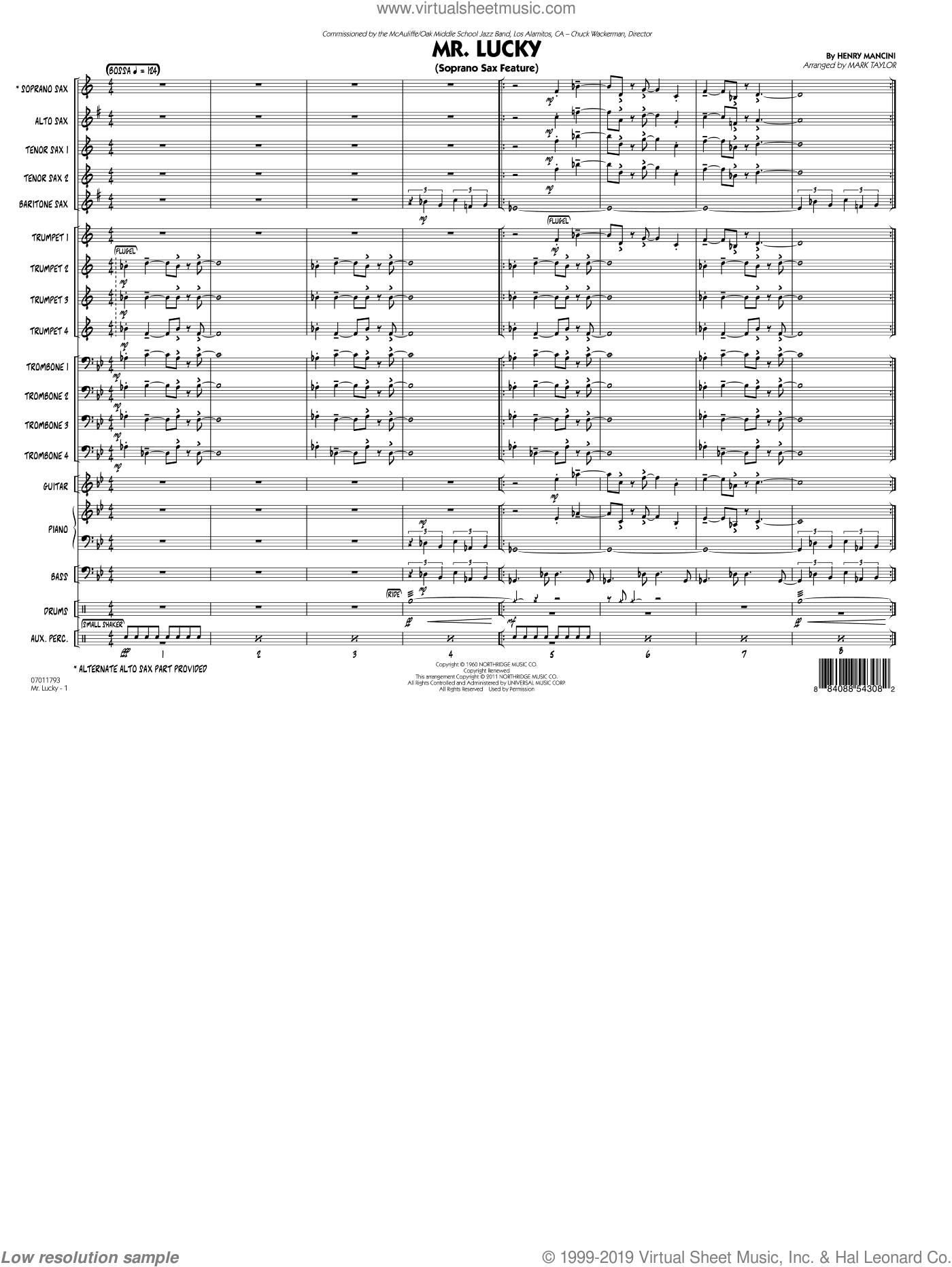 Mr. Lucky (Soprano Sax Feature) (COMPLETE) sheet music for jazz band by Henry Mancini and Mark Taylor. Score Image Preview.
