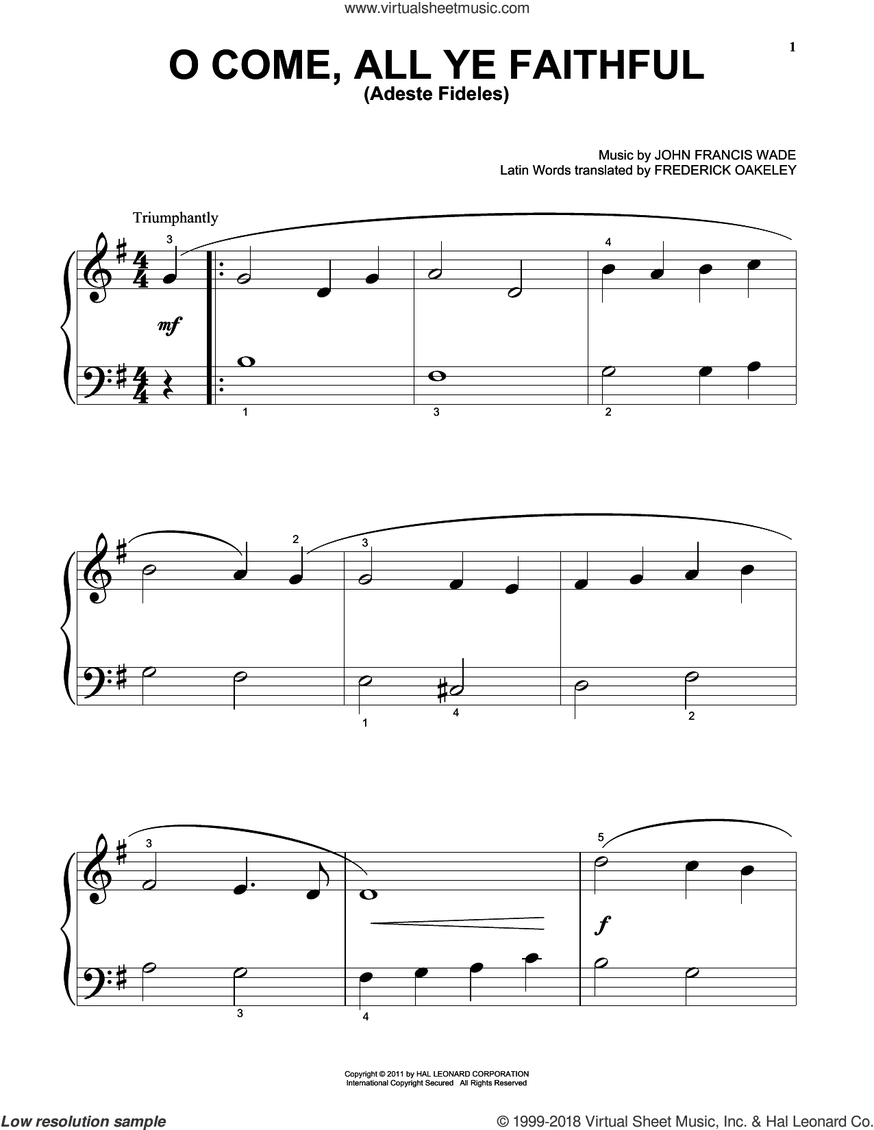 O Come, All Ye Faithful (Adeste Fideles) sheet music for piano solo (big note book) by John Francis Wade
