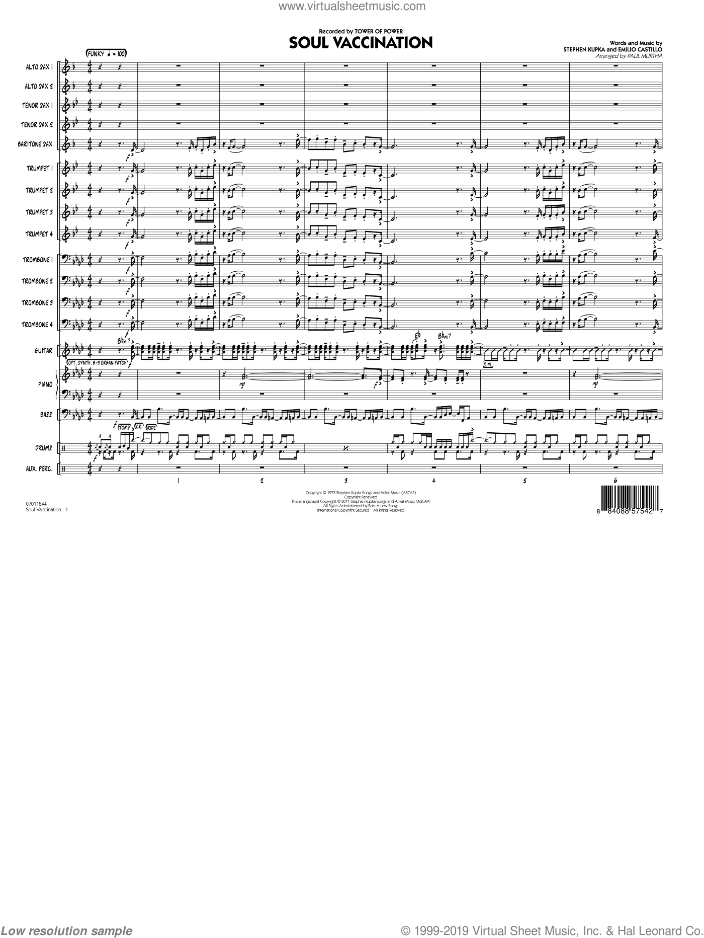 Soul Vaccination (COMPLETE) sheet music for jazz band by Emilio Castillo, Paul Murtha, Stephen Kupka and Tower Of Power. Score Image Preview.