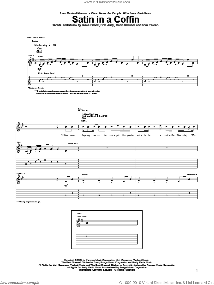 Satin In A Coffin sheet music for guitar (tablature) by Modest Mouse, Dann Gallucci, Eric Judy, Isaac Brock and Tom Peloso, intermediate skill level