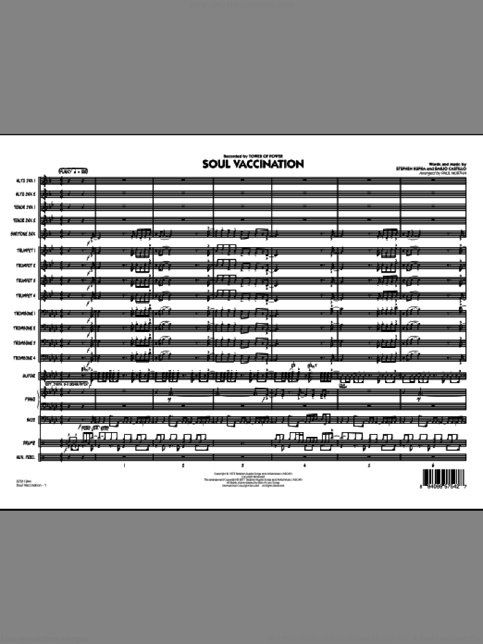 Soul Vaccination (COMPLETE) sheet music for jazz band by Paul Murtha, Emilio Castillo, Stephen Kupka and Tower Of Power, intermediate skill level