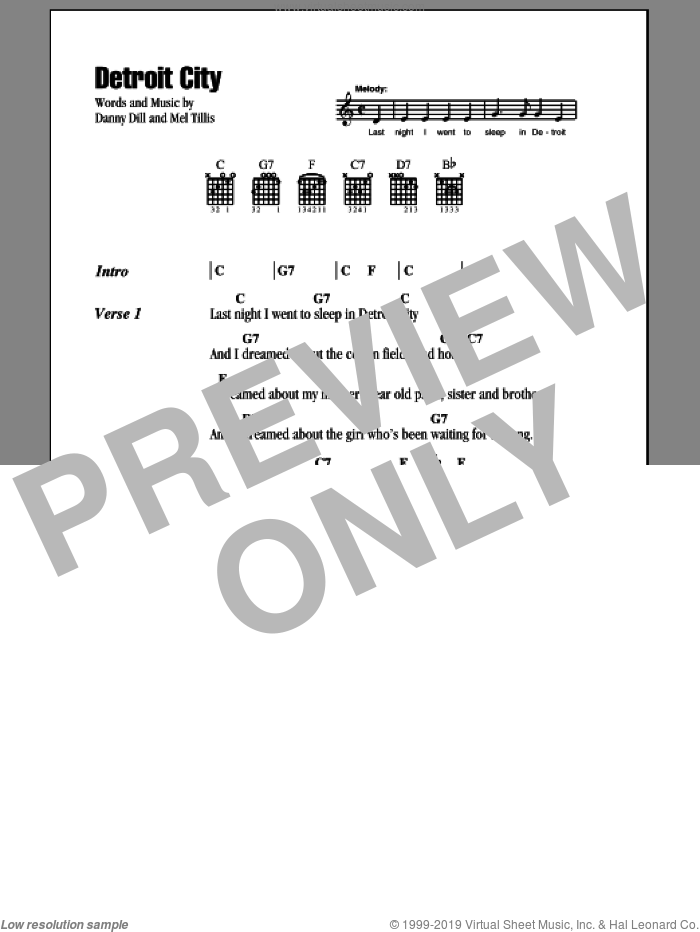 Detroit City sheet music for guitar (chords) by Bobby Bare and Mel Tillis, intermediate guitar (chords). Score Image Preview.