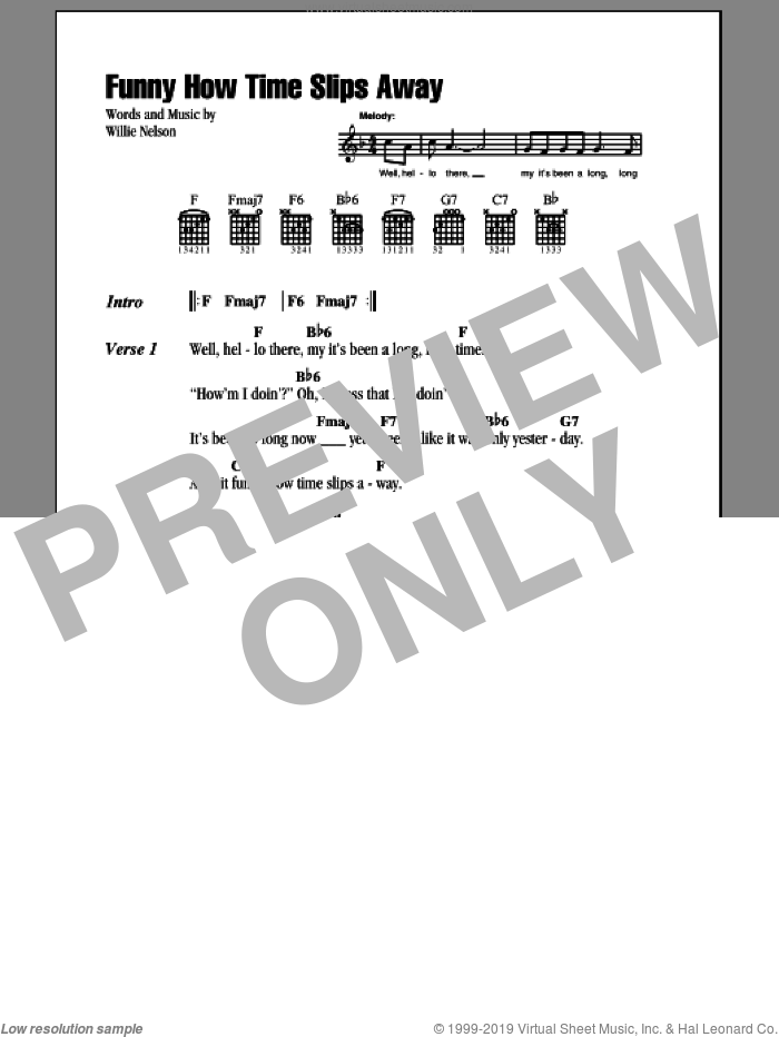 Funny How Time Slips Away sheet music for guitar (chords) by Willie Nelson, Billy Walker, Elvis Presley and Narvel Felts, intermediate skill level